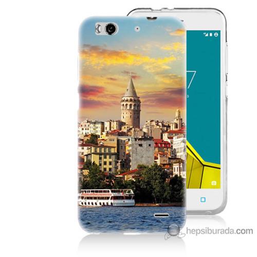 Bordo Vodafone Smart 6 Kapak Kılıf İstanbul Galata Baskılı Silikon