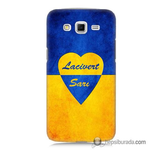 Teknomeg Samsung Galaxy Grand 2 Kapak Kılıf Sarı Lacivert Baskılı Silikon