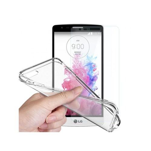 Angel Eye LG G4 Stylus Kırılmaz Cam Ekran Koruyucu + Şeffaf Silikon Kılıf