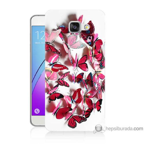Bordo Samsung Galaxy A5 2016 Pembe Kelebekler Baskılı Silikon Kapak Kılıf