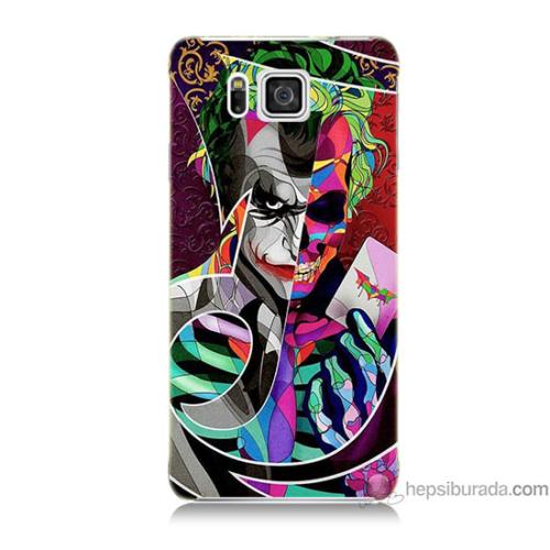 Bordo Samsung Galaxy Alpha G850 Renkli Joker Baskılı Silikon Kapak Kılıf