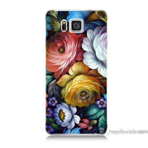 Bordo Samsung Galaxy Alpha G850 Tablo Çiçekleri Baskılı Silikon Kapak Kılıf