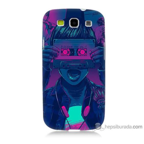 Bordo Samsung Galaxy S3 Kaset Göz Baskılı Silikon Kapak Kılıf