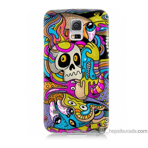 Bordo Samsung Galaxy S5 Renkli Resim Baskılı Silikon Kapak Kılıf