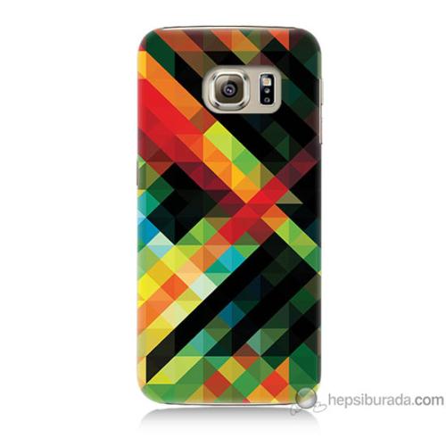 Bordo Samsung Galaxy S6 Renkli Çizgiler Baskılı Silikon Kapak Kılıf