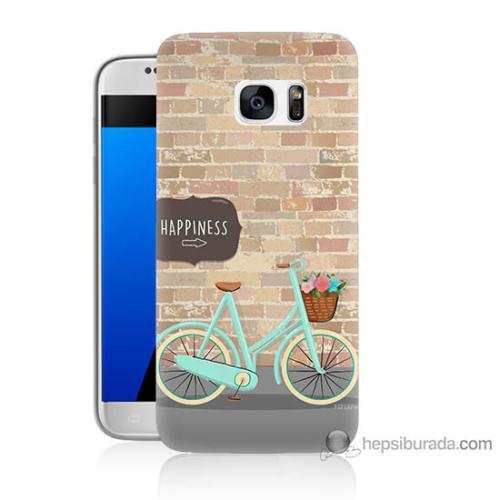 Bordo Samsung Galaxy S7 Bisiklet Baskılı Silikon Kapak Kılıf