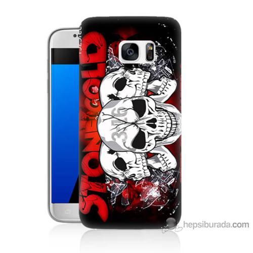 Bordo Samsung Galaxy S7 Yazılı Kuru Kafa Baskılı Silikon Kapak Kılıf