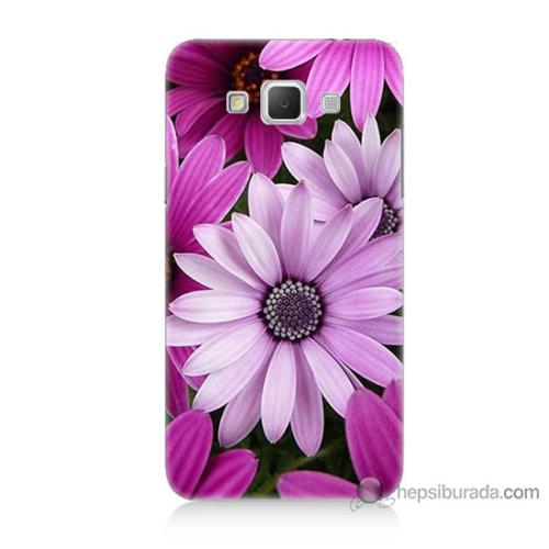 Bordo Samsung Galaxy Grand Max Mor Çiçek Baskılı Silikon Kapak Kılıf