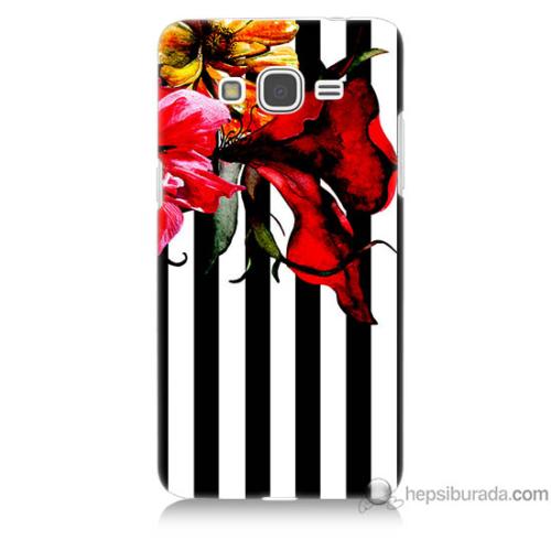 Bordo Samsung Galaxy Grand Prime Çiçek Baskılı Silikon Kapak Kılıf