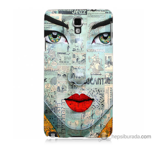 Bordo Samsung Galaxy Note 3 Neo Karikatür Yüz Baskılı Silikon Kapak Kılıf