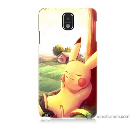 Bordo Samsung Galaxy Note 3 Pokemon Doğa Baskılı Silikon Kapak Kılıf