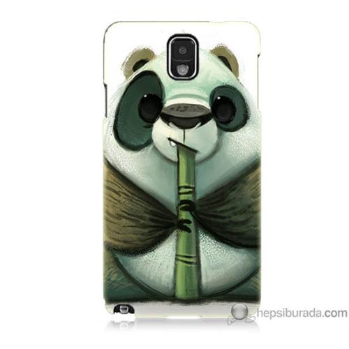 Bordo Samsung Galaxy Note 3 Flütlü Panda Baskılı Silikon Kapak Kılıf