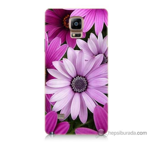 Bordo Samsung Galaxy Note 4 Mor Çiçek Baskılı Silikon Kapak Kılıf