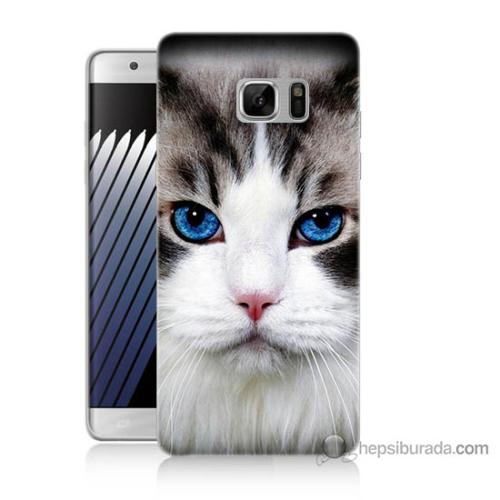 Bordo Samsung Galaxy Note 7 Maviş Gözlü Kedicik Baskılı Silikon Kapak Kılıf