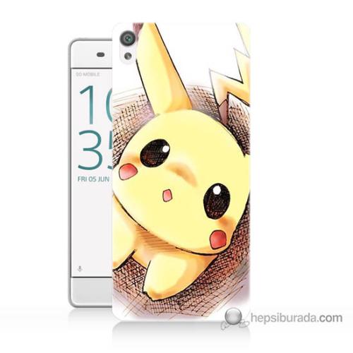Bordo Sony Xperia Z5 Pokemon Resim Baskılı Silikon Kapak Kılıf