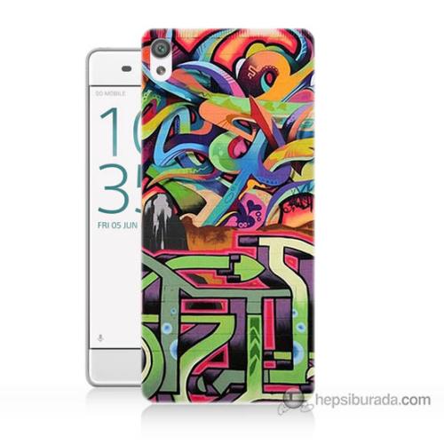 Bordo Sony Xperia Z5 Compact Karışık Görsel Baskılı Silikon Kapak Kılıf