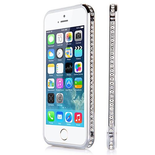 CaseUp iPhone 5 5S Taşlı Metal Bumper Kılıf Kırılmaz Cam