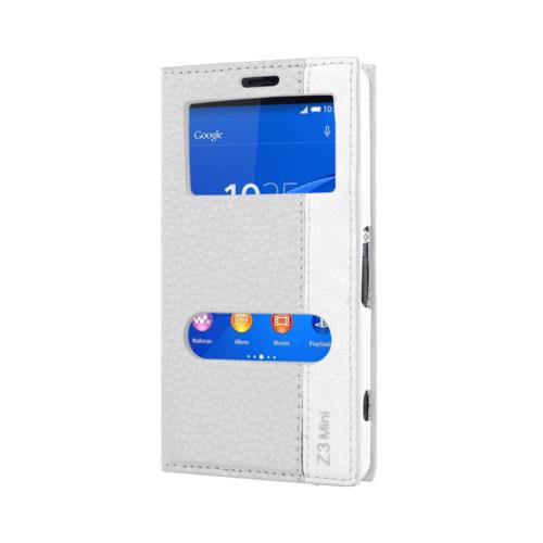 CaseUp Sony Xperia Z3 Compact (Z3 Mini) Kılıf Kapaklı Çift Pencereli Kırılmaz Cam