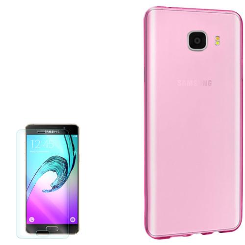 Gpack Samsung Galaxy C7 Kılıf 0.2Mm Silikon + Kırılmaz Cam