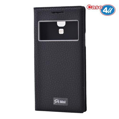 Case 4U Samsung Galaxy S4 Mini Pencereli Kapaklı Kılıf Siyah