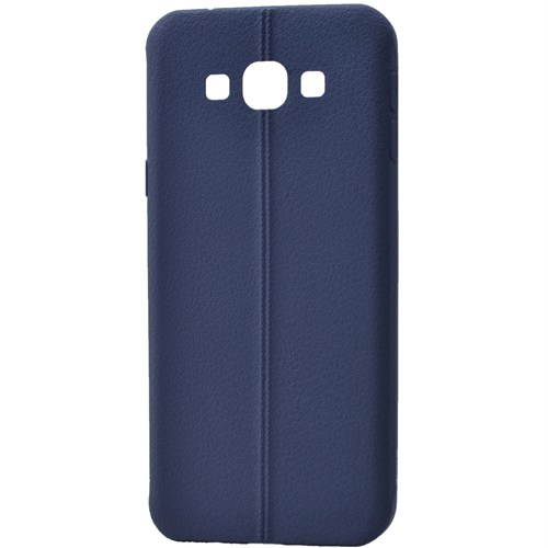 Lopard Samsung Galaxy E5 Kılıf Ribbon İnce Silikon Arka Kapak Lacivert