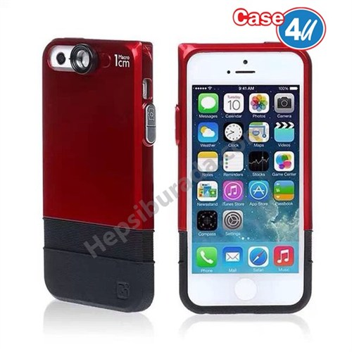 Case 4U Apple iPhone 6S Macro Lensli Kapak Kırmızı