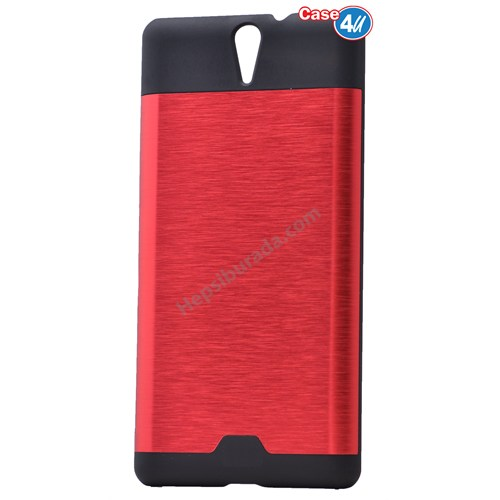 Case 4U Sony Xperia C5 Ultra Moto Sert Arka Kapak Kırmızı