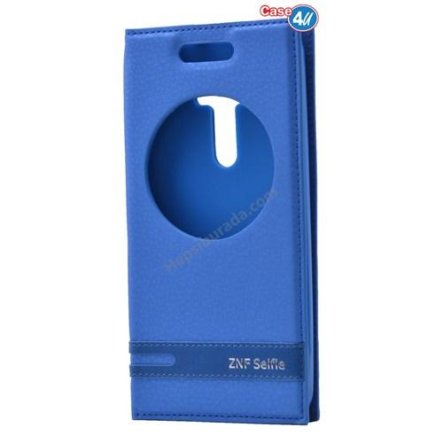 Case 4U Asus Zenfone Selfie Pencereli Kapaklı Kılıf Mavi