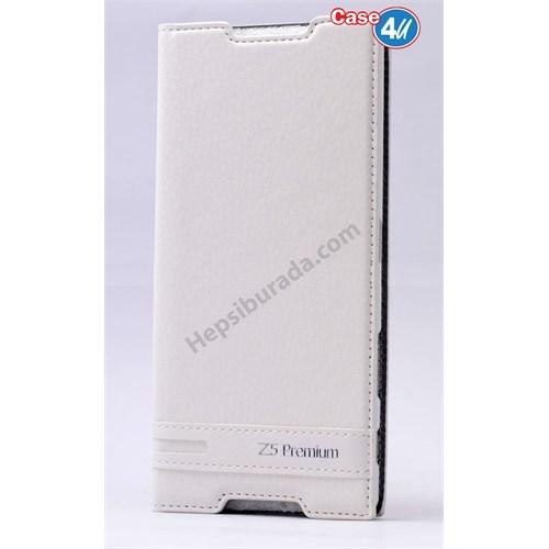 Case 4U Sony Xperia Z5 Premium Gizli Mıknatıslı Kapaklı Kılıf Beyaz