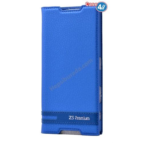 Case 4U Sony Xperia Z5 Premium Gizli Mıknatıslı Kapaklı Kılıf Mavi