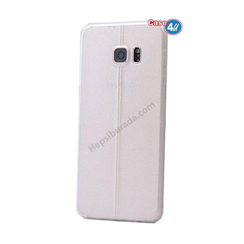 Case 4U Samsung Galaxy S6 Edge Parlak Desenli Silikon Kılıf Beyaz