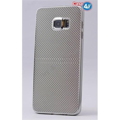 Case 4U Samsung Galaxy S6 Edge Plus Hasır Desenli Ultra İnce Silikon Kılıf Gümüş