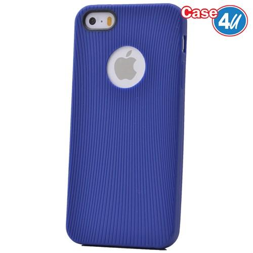 Case 4U Apple İphone 5 Çizgili Silikon Kılıf Mavi