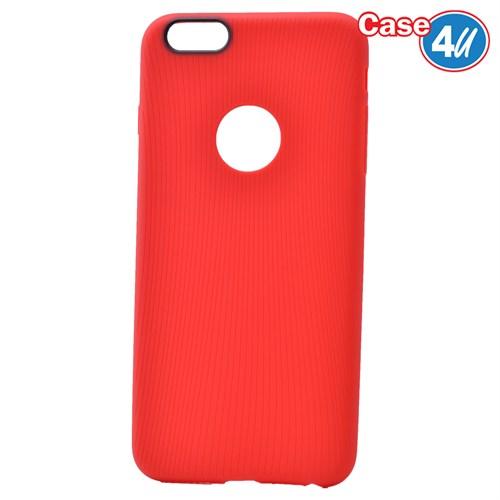 Case 4U Apple İphone 6 Çizgili Silikon Kılıf Kırmızı