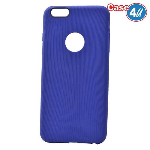 Case 4U Apple İphone 6 Çizgili Silikon Kılıf Mavi
