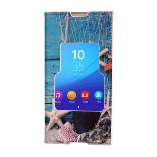 CoverZone Sony Xperia Z5 Compact Kılıf Pencereli Kapaklı Deniz Kabuğu