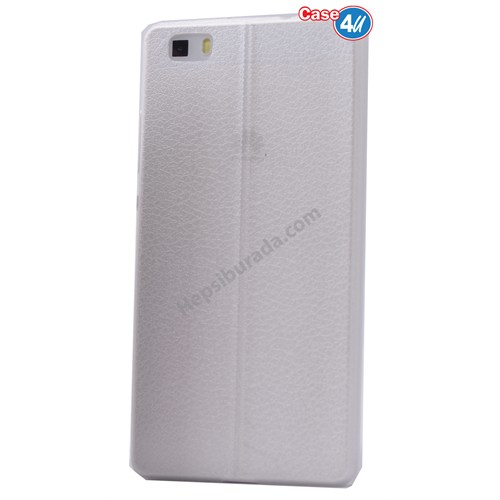 Case 4U Huawei P8 Lite Parlak Desenli Silikon Kılıf Beyaz