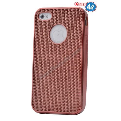 Case 4U Apple İphone 4S Hasır Desenli Ultra İnce Silikon Kılıf Rose Gold