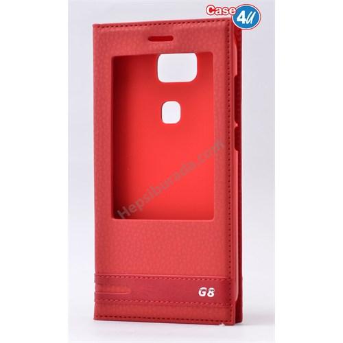 Case 4U Huawei G8 Pencereli Kılıf Kırmızı