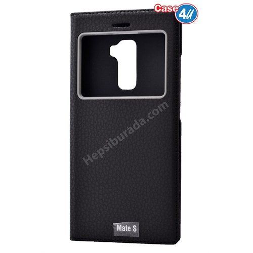 Case 4U Huawei Mate S Dolce Kapaklı Kılıf Siyah