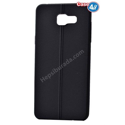 Case 4U Samsung A710 Galaxy A7 Desenli Silikon Kılıf Siyah
