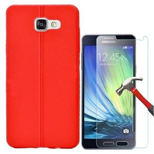 Kılıfshop Samsung Galaxy A7 2016 Silikon Kılıf Dikiş Desenli + Kırılmaz Cam Ekran Koruyucu - Kırmızı