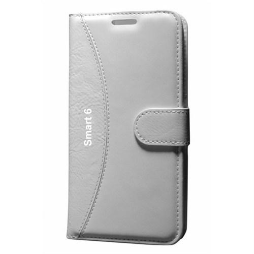 Cep Market Vodafone Smart 6 Kılıf Standlı Cüzdan (Beyaz)