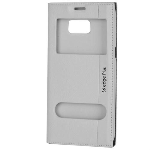 Cep Market Samsung Galaxy S6 Edge Plus Kılıf Pencereli Milano (Beyaz)