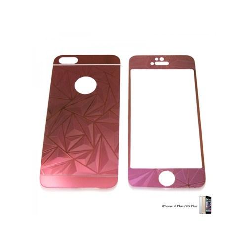 Glass Apple İphone 6 Plus / 6S Plus Aynalı Desenli Renkli Kırılmaz Cam Ekran Koruyucu Film