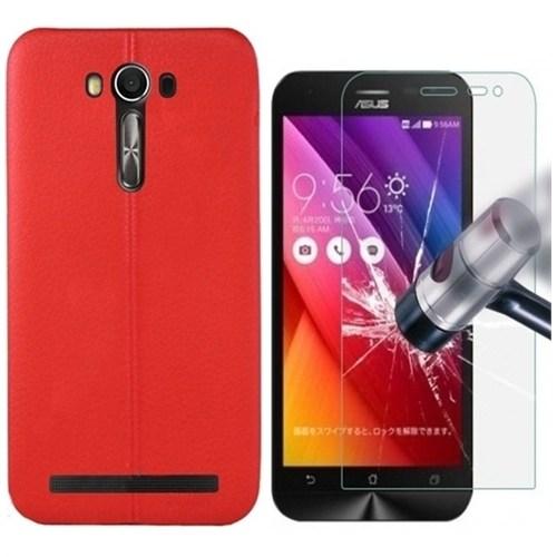 Kılıfshop Asus Zenfone 2 Laser Ze500kl Silikon Kılıf Dikiş Desenli Kırmızı + Kırılmaz Ekran Koruyucu