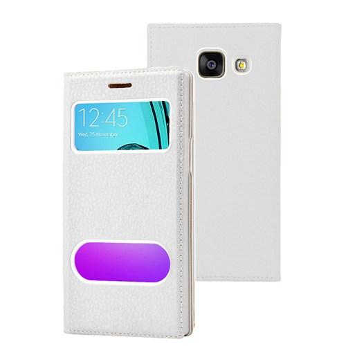 Microsonic Samsung Galaxy A3 2016 Kılıf Gizli Mıknatıslı View Delux Beyaz