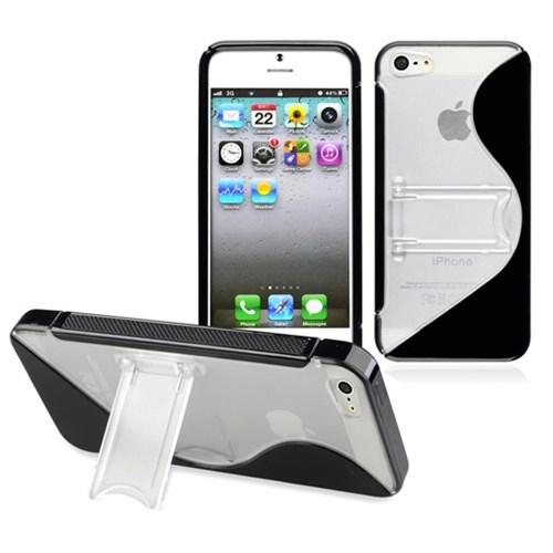CoverZone Apple İphone 5 - 5S Kılıf Silikon Standlı Siyah
