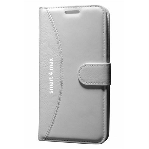 Cep Market Vodafone Smart 4 Max Kılıf Standlı Cüzdan - Beyaz