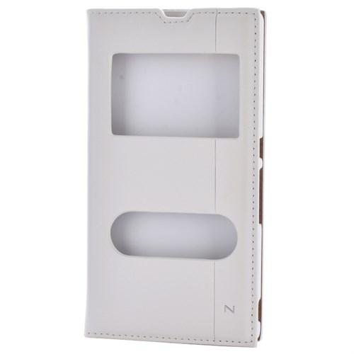 Cep Market Sony Xperia Z Kılıf Pencereli Kapaklı Mıknatıslı Milano - Beyaz